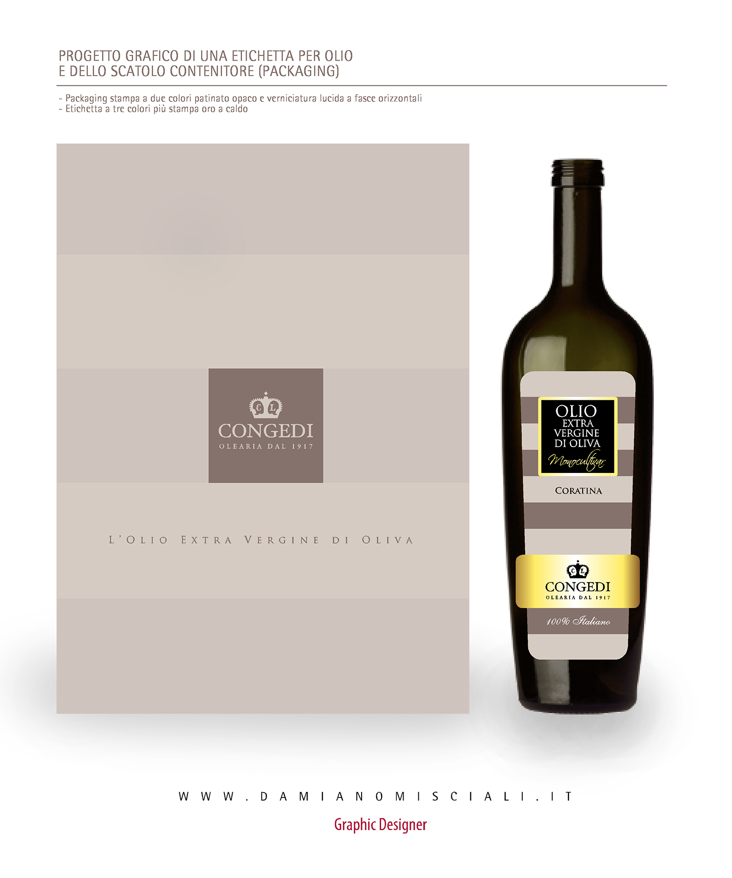 scatola bottiglia Progetto Etichetta e Packaging Olio Congedi   Ugento (Lecce)