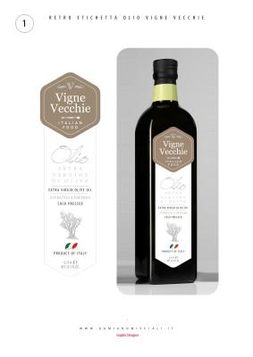 etichettaolio design 283x400 Design etichetta olio   Vigne Vecchie (Lecce)