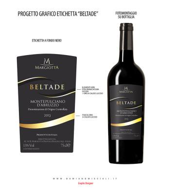 etichetta troncoconica 354x400 Design etichetta Beltade bottiglia troncoconica   Margiotta Vini (Aq)