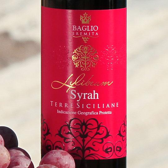 particolare etichetta vino1 Baglio Eremita   Etichetta vino Syrah Terre Siciliane
