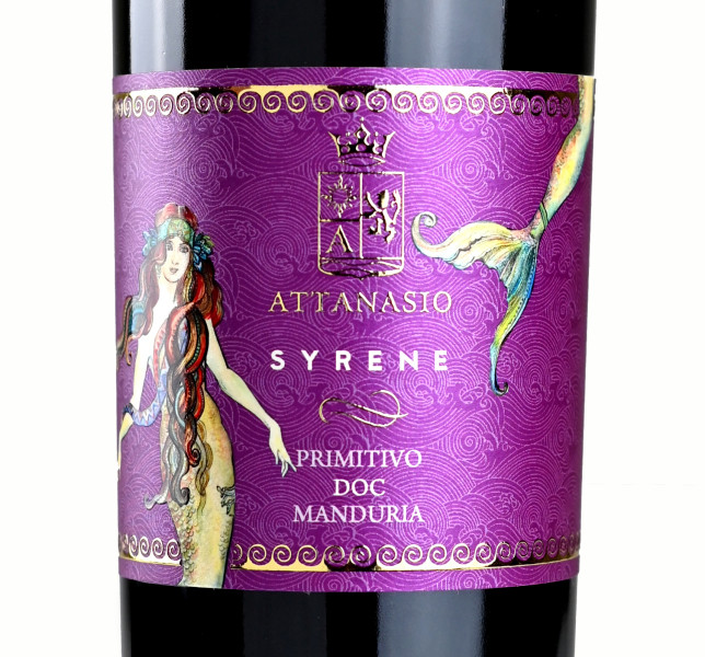 design etichette vino 644x600 Design etichetta vino Primitivo – Syrene – Cantina Attanasio