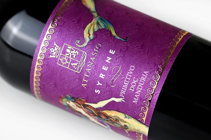 etichetta pregiata 800x532 Design etichetta vino Primitivo – Syrene – Cantina Attanasio