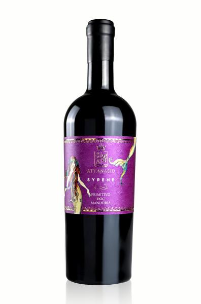 etichetta vino sirene 396x600 Design etichetta vino Primitivo – Syrene – Cantina Attanasio