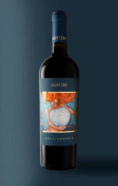 design etichetta vino 382x600 Grafica etichetta vino rosso   Dolci Memorie   Tenute Martino